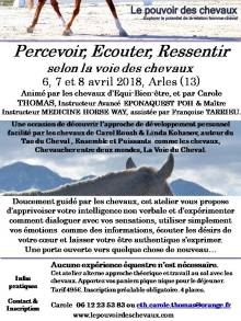 Flyer Atelier Percevoir Arles avril 2018